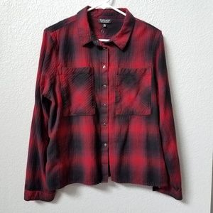 TopShop Red Black Plaid  Flannel Snap Top